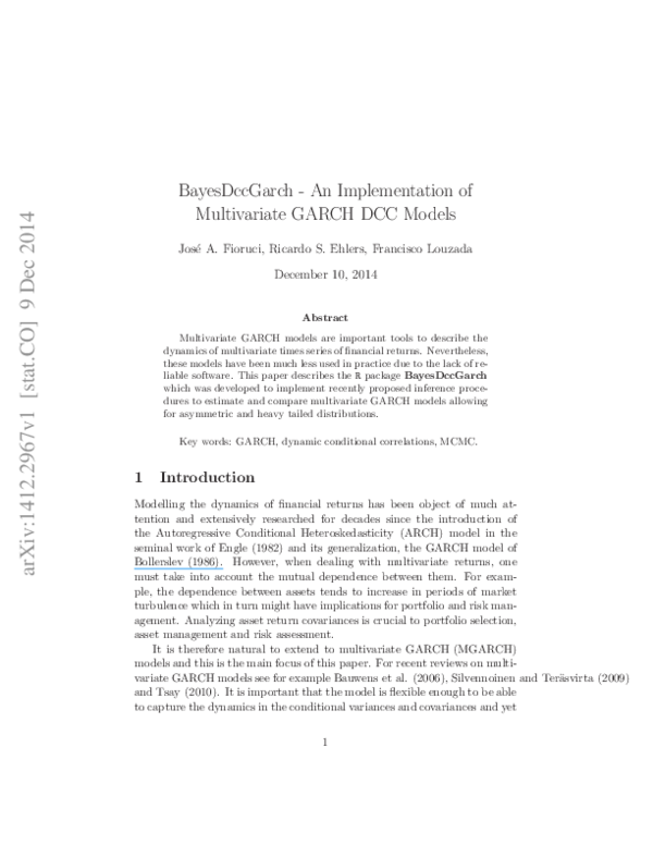 PDF) BayesDccGarch - An Implementation of Multivariate GARCH DCC