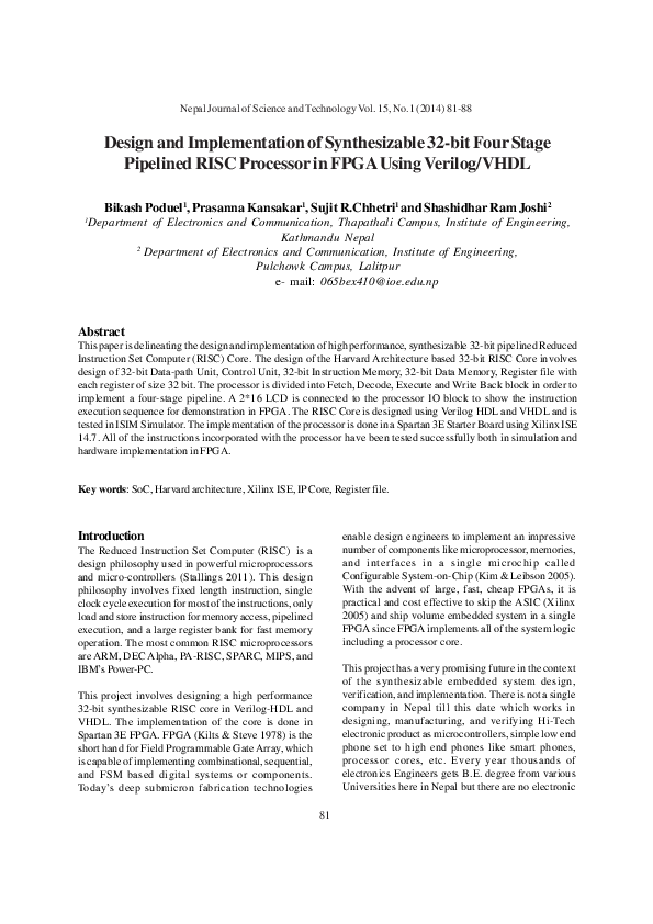 PDF) Design and Implementation of Synthesizable 32-bit Four