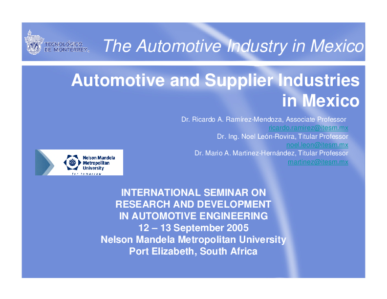PDF) Automotive and Supplier Industries in Mexico  The Automotive