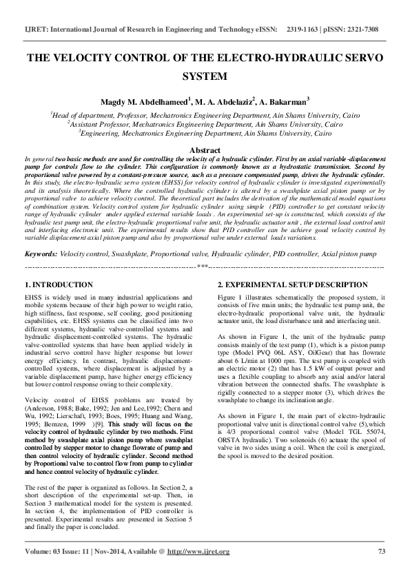 PDF) THE VELOCITY CONTROL OF THE ELECTRO-HYDRAULIC SERVO SYSTEM