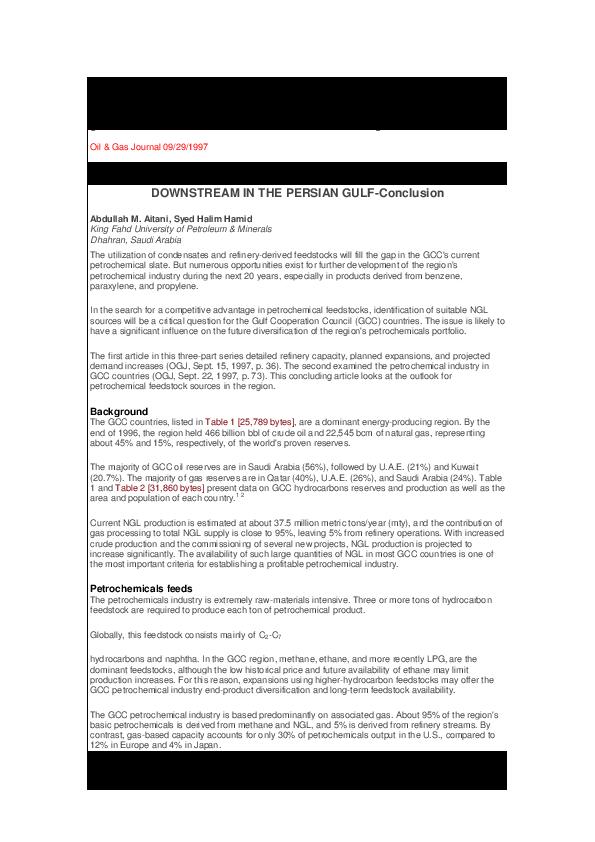 PDF) To diversify its petrochemicals portfolio, GCC needs liquid