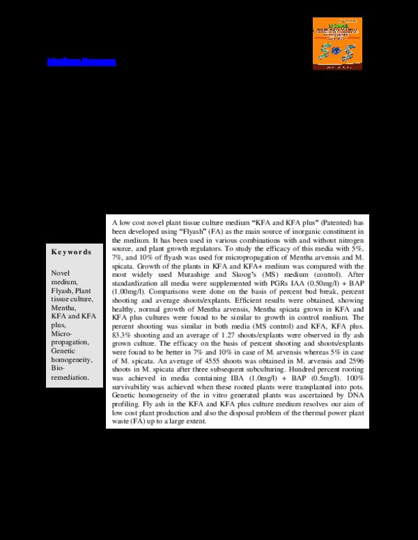 PDF) A Low Cost Novel Medium for Plant Tissue Culture