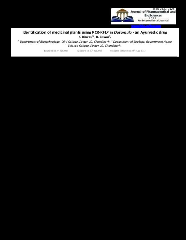 PDF) Identification of medicinal plants using PCR-RFLP in Dasamula