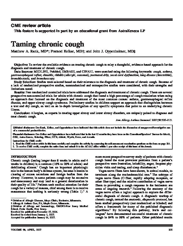 PDF) Taming chronic cough | John Oppenheimer and Pramod