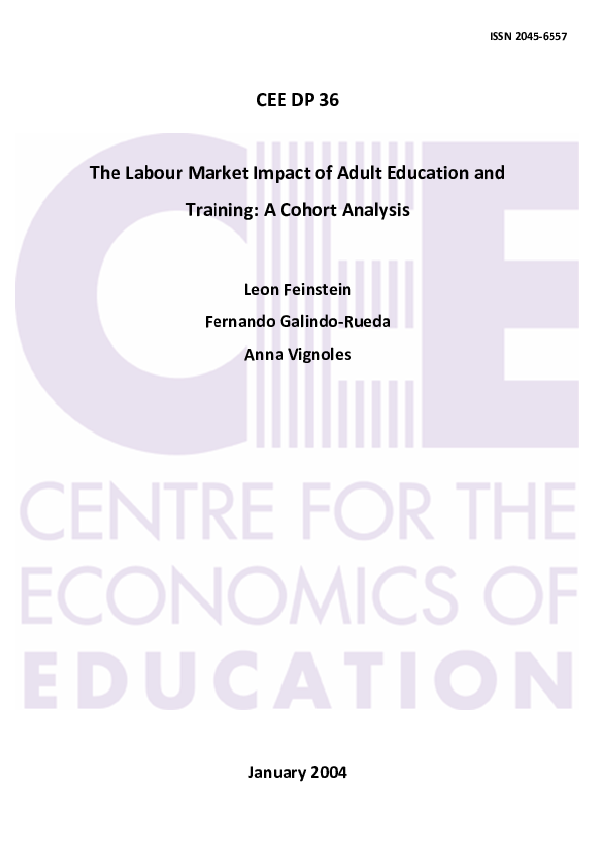 The Labour Market Impact of Adult Education and Training: A Cohort Analysis