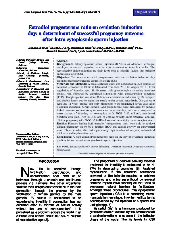 PDF) Estradiol progesterone ratio on ovulation induction day: a