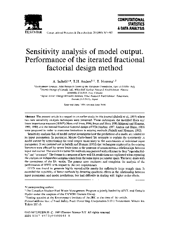 PDF) Sensitivity analysis of model output  Performance of