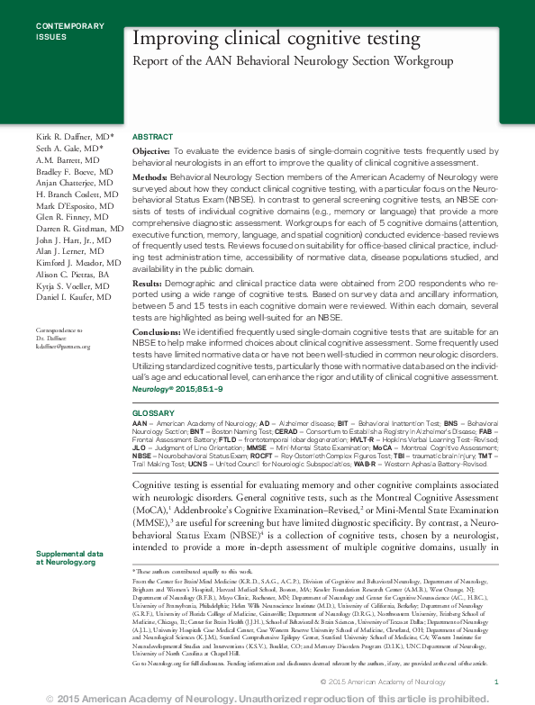 PDF) Improving clinical cognitive testing: Report of the AAN
