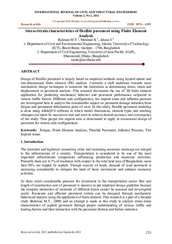 PDF) StressStrain characteristics of flexible pavement using Finite