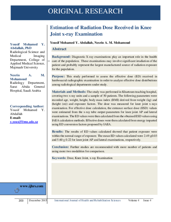 PDF) Estimation of Radiation Dose Received in Knee Joint x
