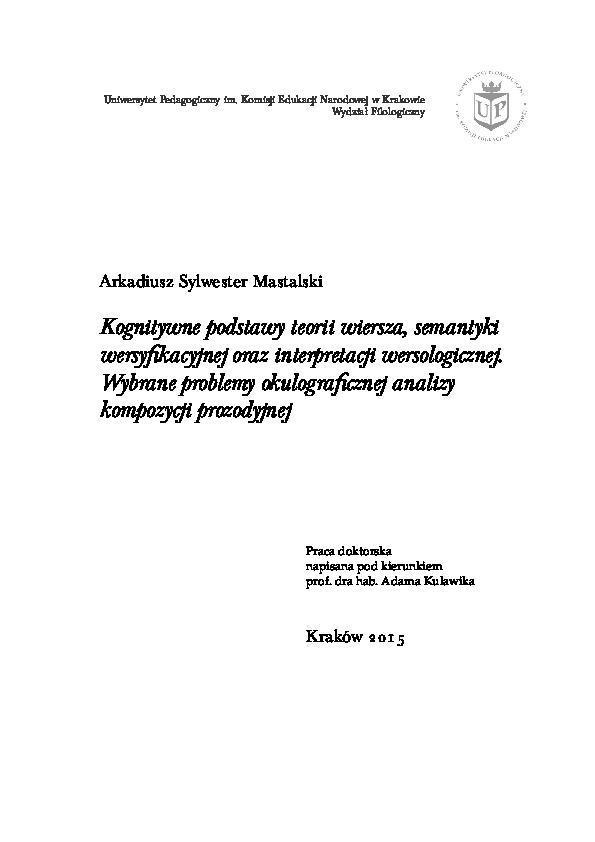 Pdf Kognitywne Podstawy Teorii Wiersza Semantyki
