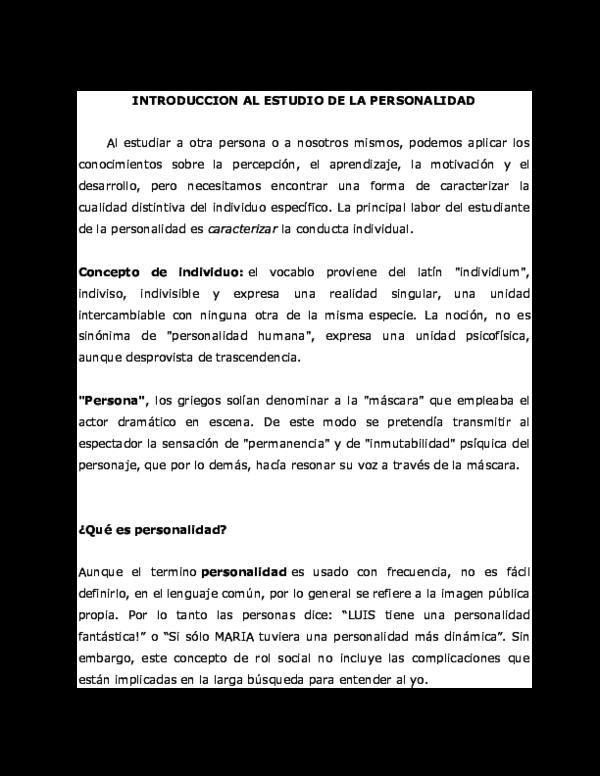 Doc Introduccion Al Estudio De La Personalidad José Kevin