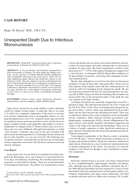PDF) Unexpected death due to infectious mononucleosis | Roger Byard
