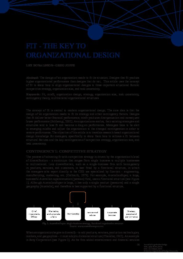 Pdf Fit The Key To Organizational Design Greg Joffe Academia Edu