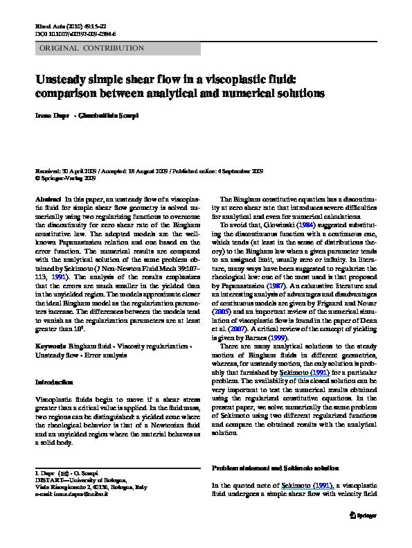 PDF) Unsteady simple shear flow in a viscoplastic fluid: comparison