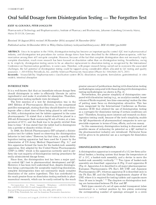 PDF) Oral Solid Dosage Form Disintegration Testing — The Forgotten