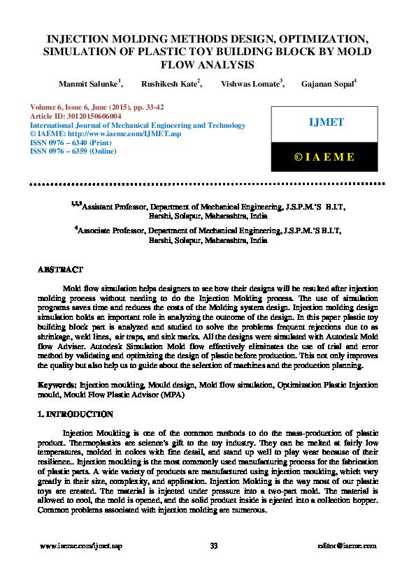 PDF) INJECTION MOLDING METHODS DESIGN, OPTIMIZATION