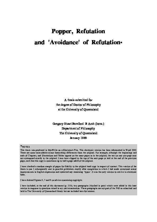 Pdf Popper Refutation And Avoidance Of Refutation Greg Bamford Academia Edu