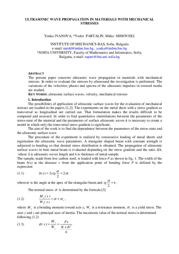 PDF) ULTRASONIC WAVE PROPAGATION IN MATERIALS WITH