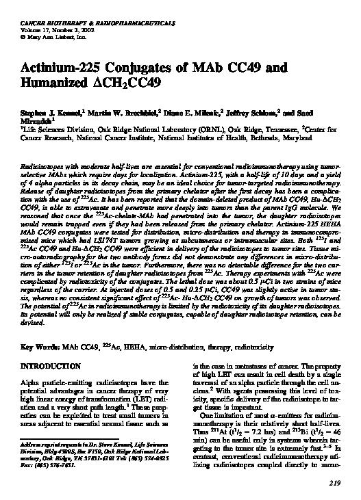 PDF) Actinium-225 Conjugates of MAb CC49 and Humanized ΔCH 2