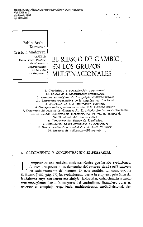 Pdf El Riesgo De Cambio En Los Grupos Multinacionales