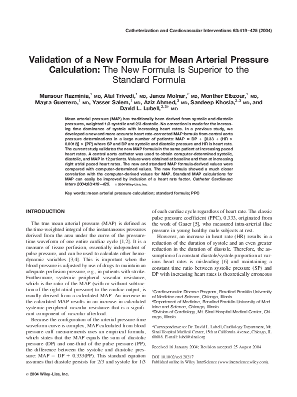 Pdf Validation Of A New Formula For Mean Arterial Pressure