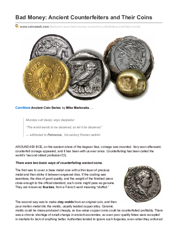 PDF) Bad Money: Ancient Counterfeiters and Their Coins | Mike