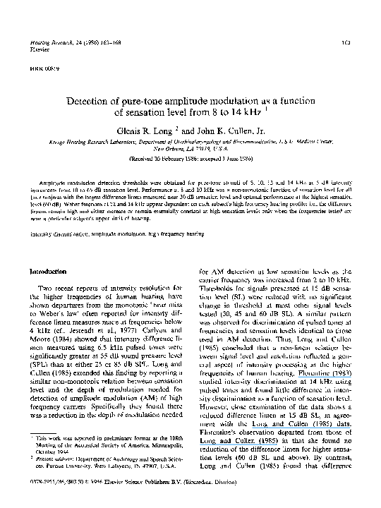 Detection of pure-tone amplitude modulation as a function of