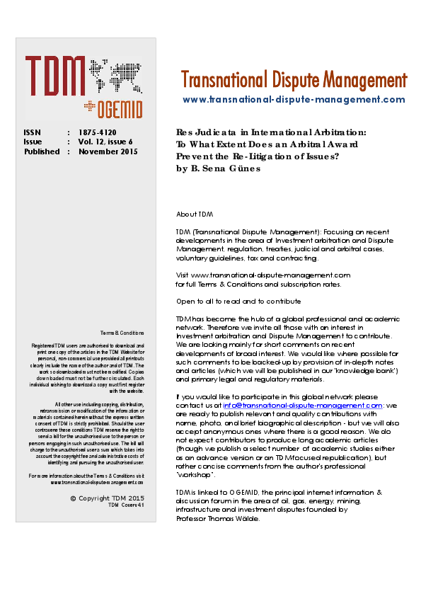 PDF) Res Judicata in International Arbitration: To What Extent Does