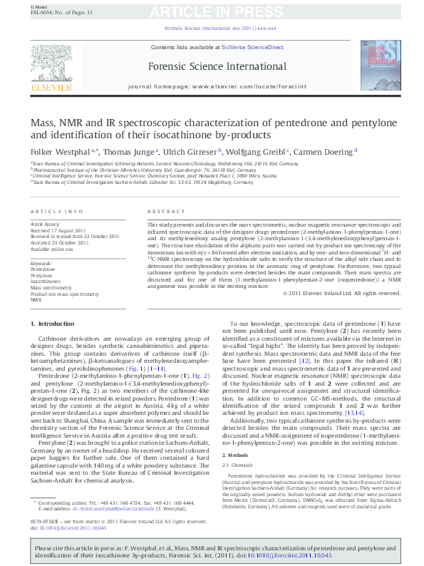 PDF) Mass, NMR and IR spectroscopic characterization of pentedrone