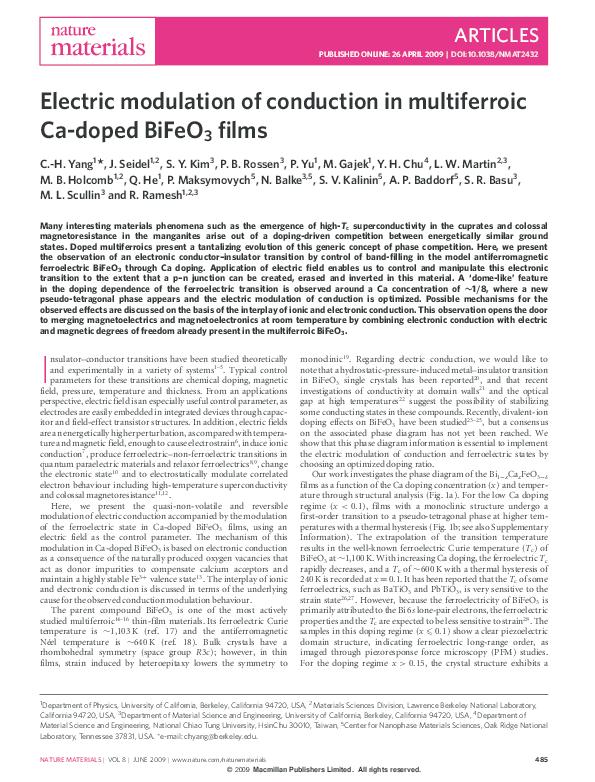 PDF) Electric modulation of conduction in multiferroic Ca