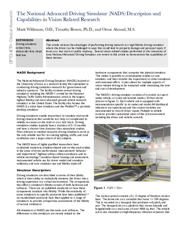 PDF) The National Advanced Driving Simulator (NADS