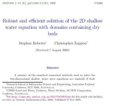 PDF) Robust and efficient solution of the 2D shallow water