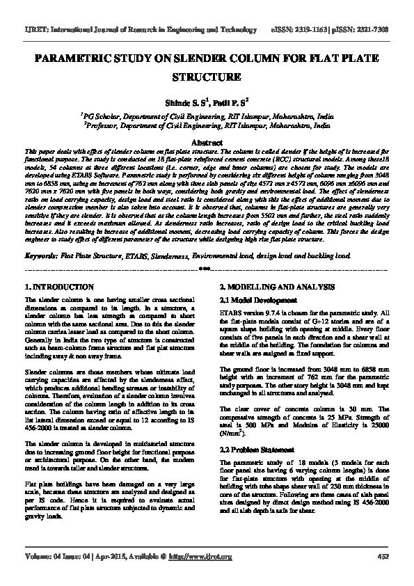 PDF) PARAMETRIC STUDY ON SLENDER COLUMN FOR FLAT PLATE