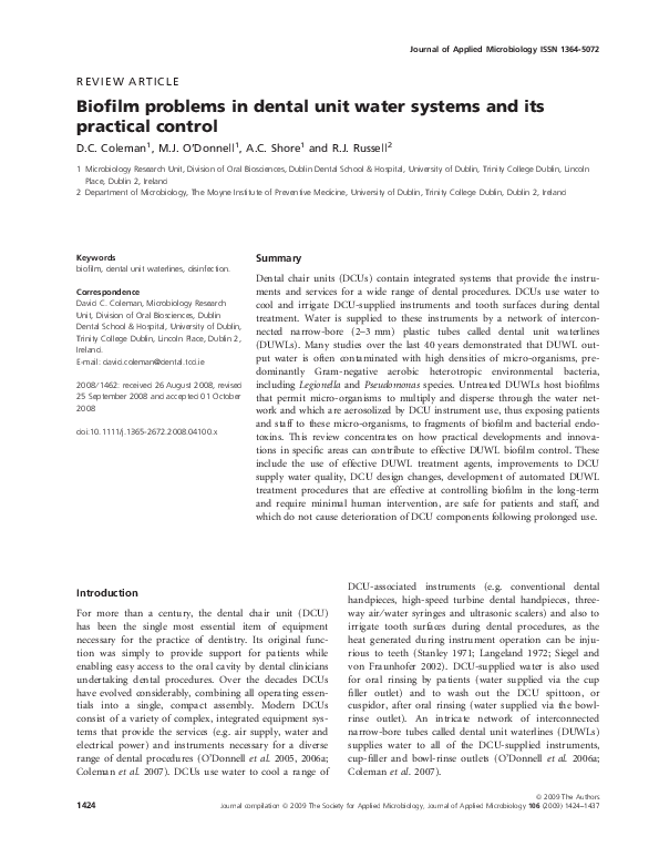 PDF) Biofilm problems in dental unit water systems and its