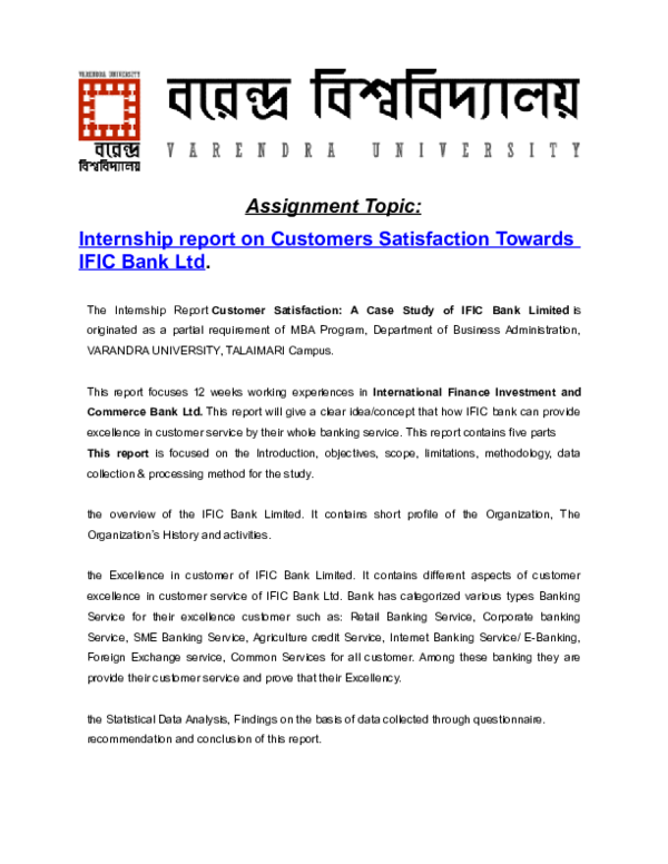 DOC) Customer Satisfaction of IFIC Bank Ltd  | Md  Shaheb
