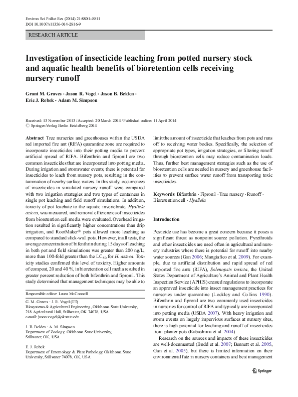 PDF) Investigation of insecticide leaching from potted nursery stock