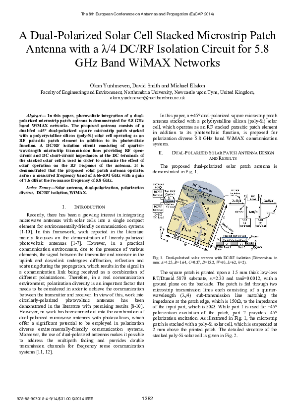 PDF) A dual-polarized solar cell stacked microstrip patch