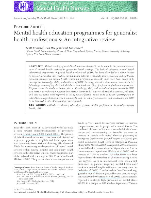 PDF) Mental health education programmes for generalist