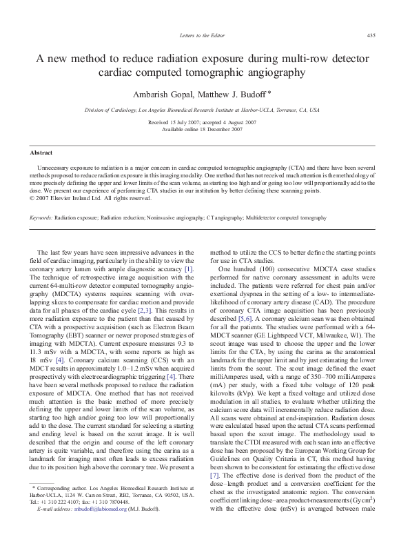PDF) A new method to reduce radiation exposure during multi