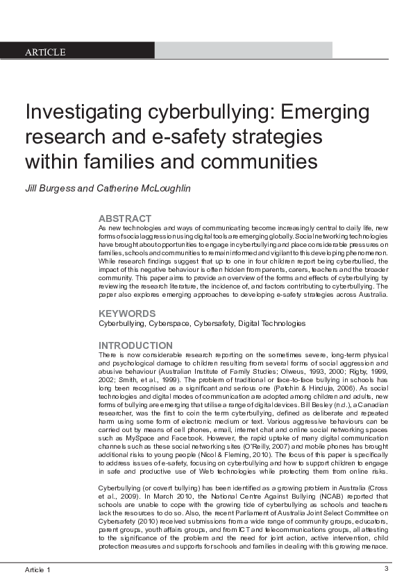 PDF) Investigating cyberbullying: Emerging research and e