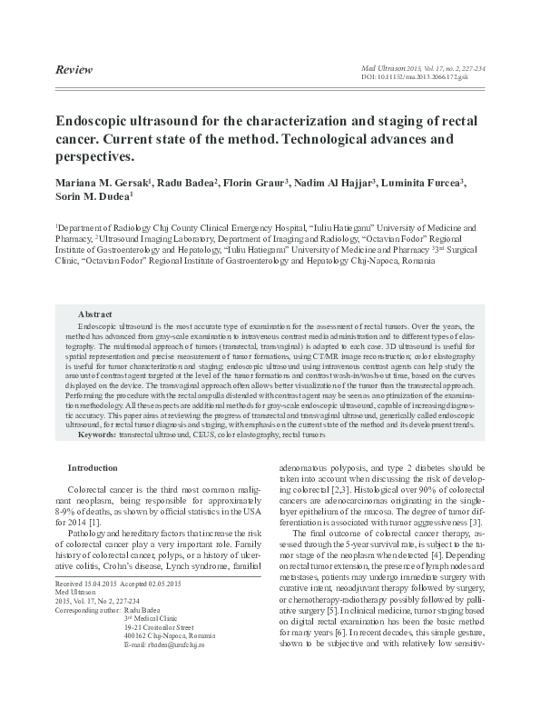 Pdf Endoscopic Ultrasound For The Characterization And Staging Of Rectal Cancer Current State Of The Method Technological Advances And Perspectives Luminita Furcea And Sorin Dudea Academia Edu
