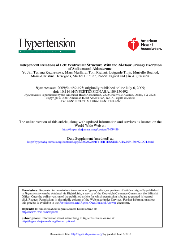 PDF) Independent Relations of Left Ventricular Structure
