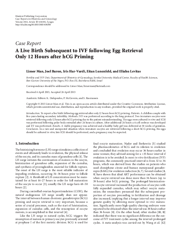 PDF) A Live Birth Subsequent to IVF following Egg Retrieval Only 12