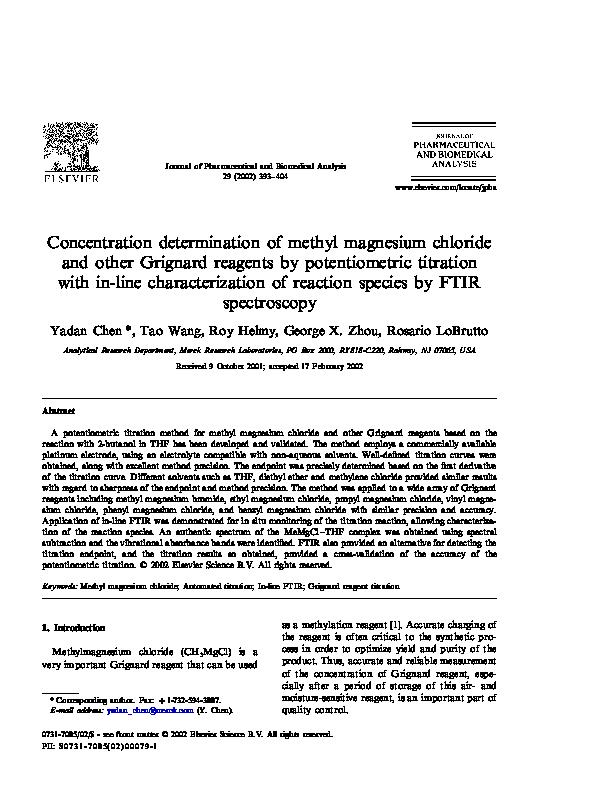 PDF) Concentration determination of methyl magnesium