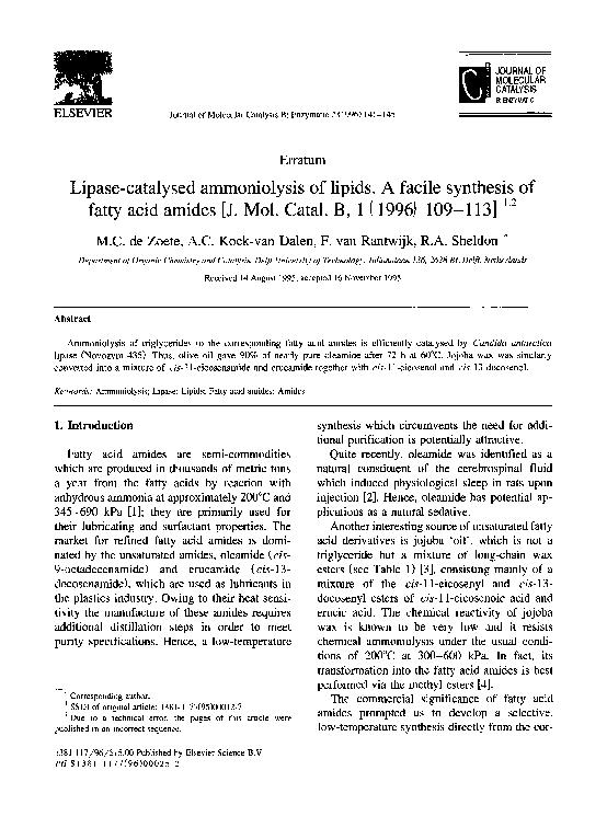 PDF) Lipase-catalysed ammoniolysis of lipids  A facile