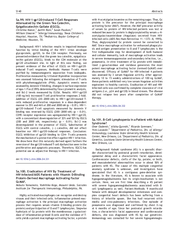 PDF) Sa 101  B-Cell Lymphopenia in a Patient with Kabuki