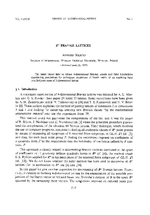 PDF) R4 Bravais lattices | Andrzej Solecki - Academia edu