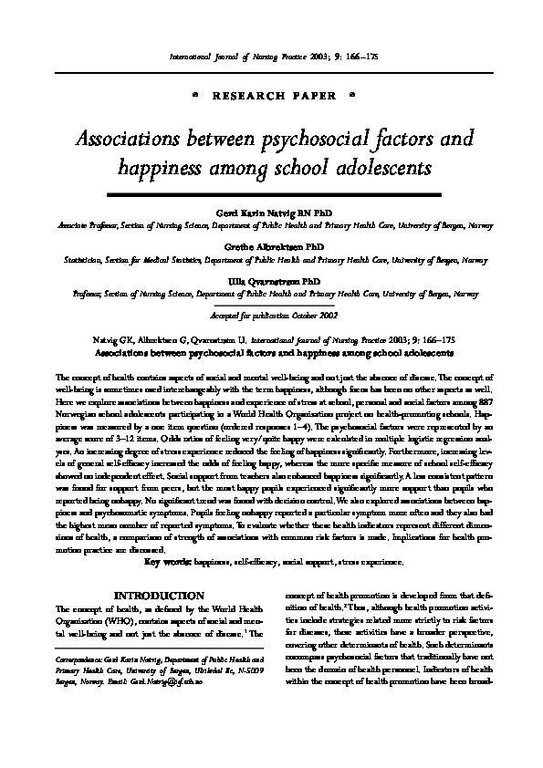 PDF) Associations between psychosocial factors and happiness