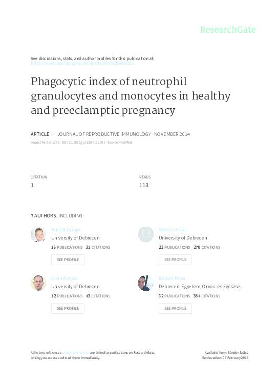 PDF) Phagocytic index of neutrophil granulocytes and